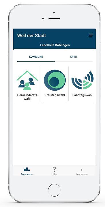 Die WER-App zeigt auch die Wahlergebnisse der Stadt Weil der Stadt an
