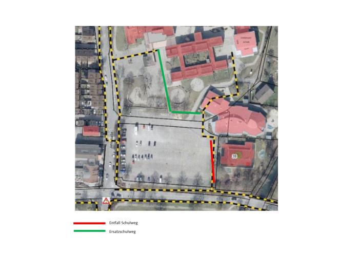 Verlegung des Schulweges auf dem Festplatz für die Umbauarbeiten katholischer Kindergarten