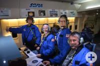 Jochim Groß, Olaf Graf, Andrea Sittig-Kramer und Margarita Riedel an Bord von SOFIA