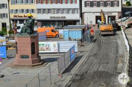 Tiefbauarbeiten auf dem Marktplatz