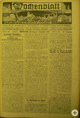 Wochenblatt 11. September Titelseite