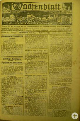Titelseite Wochenblatt 04. September