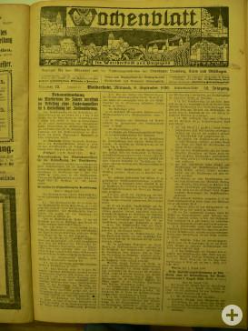 Titelblatt der Ausgabe des 08. Septembers