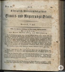 Impfung Königreich Württemberg 1818