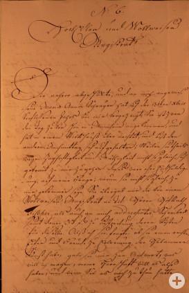Brief Sartor an Rat Seite 1