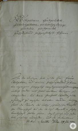 Schreiben des Hauptmanns von Kolleffel Seite 1