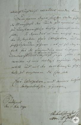 Schreiben des Hauptmanns von Kolleffel Seite 2